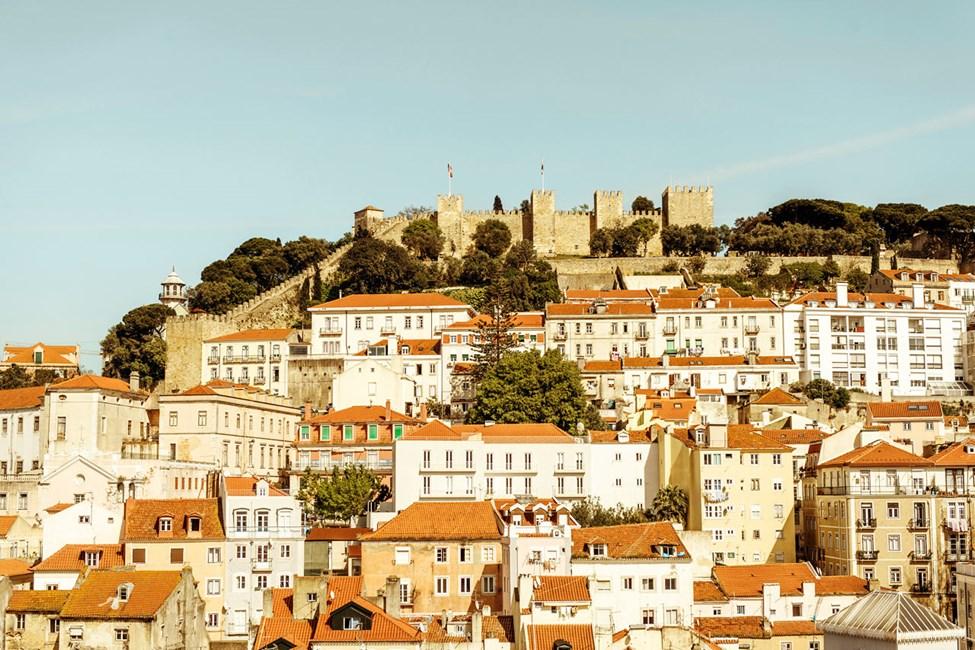 Utsikt fra takbaren på Hotel Mundial, Lisboa