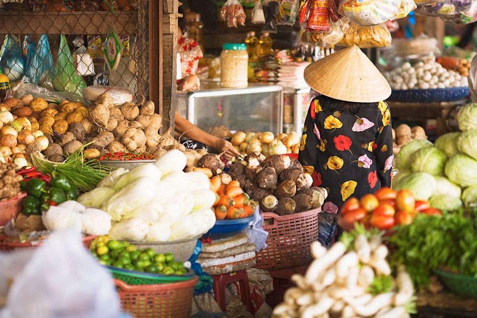 Grønnsaksmarked i Duong Dong, Phu Quoc, Vietnam.