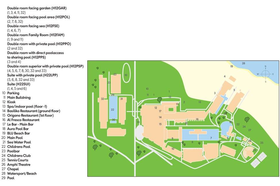 Kart over hotellområdet