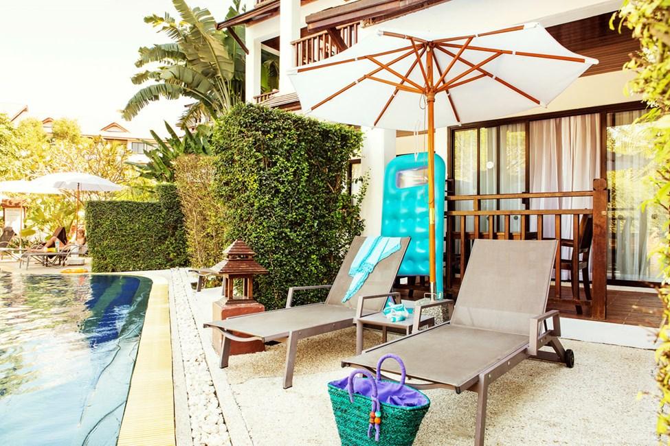 1-romssuite Royal Family Suite. Terrasse med direkte utgang til basseng.