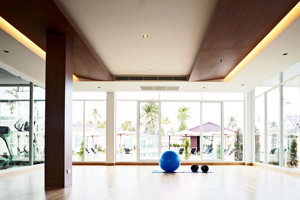 Hotellet har et fint treningsstudio med en separat yoga-avdeling.