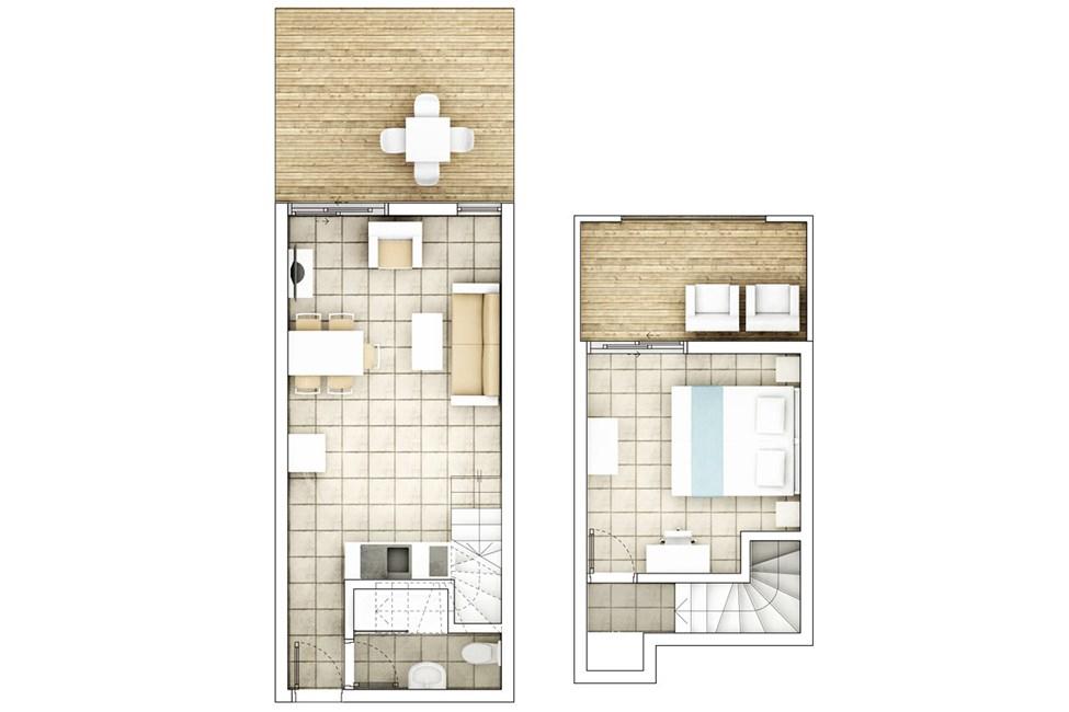 2-romsleilighet i to etasjer, mot bassengområdet