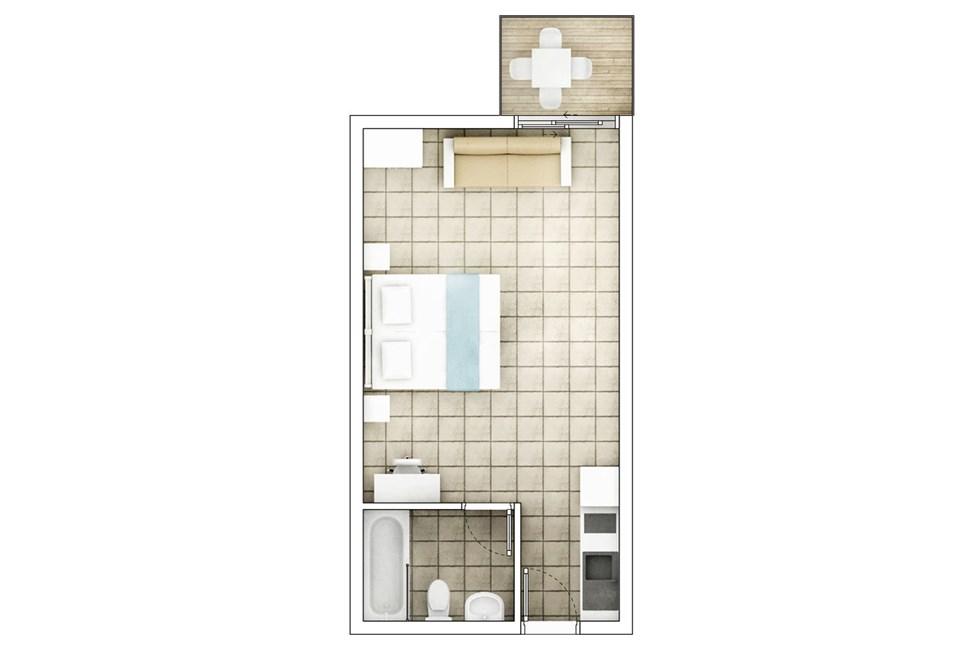 1-romsleilighet med balkong mot bassengområdet