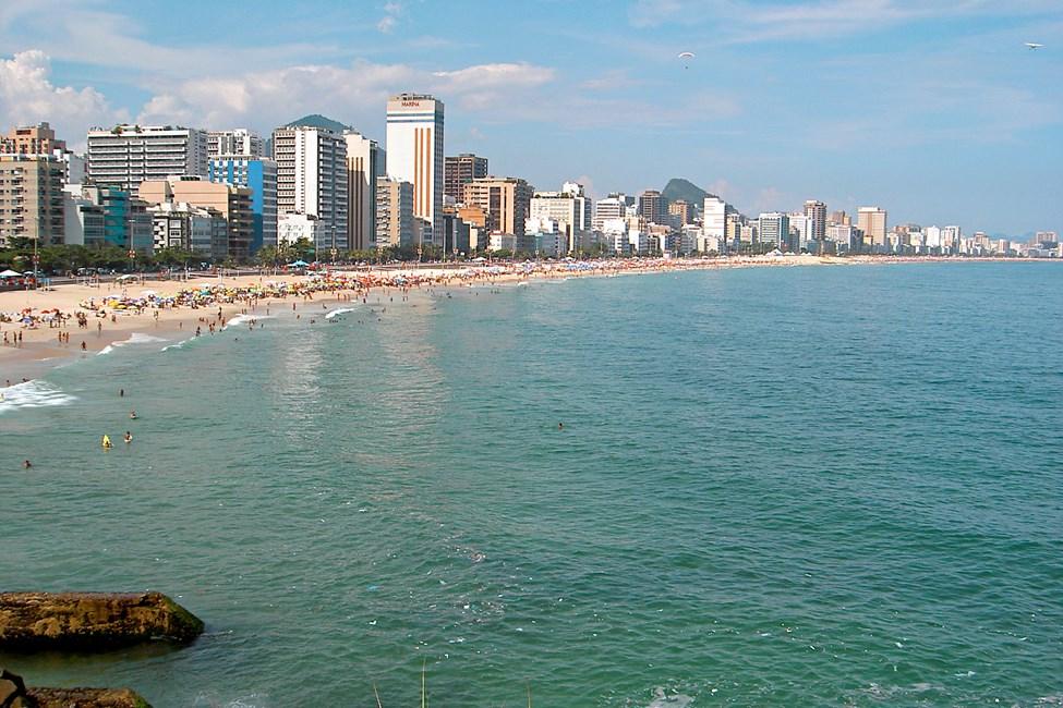 Utsikt over stranden Copacabana, Rio de Janeiro