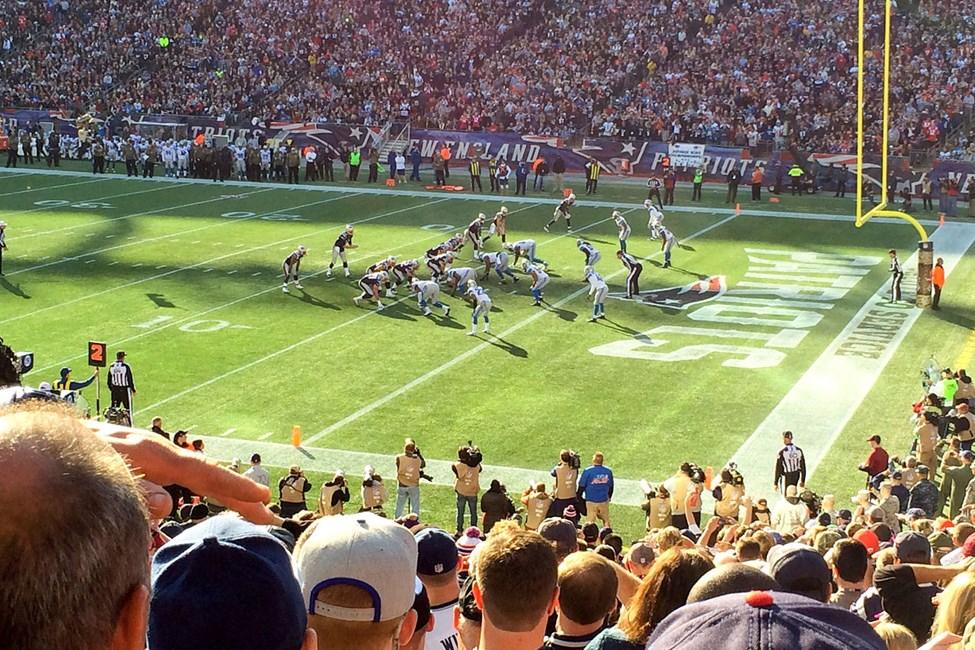 New England Patriots spiller sine kamper på Gillette Stadium utenfor Boston