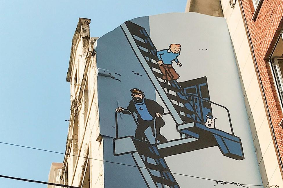 Veggmaleri med Tintin på Rue de l'Etuve