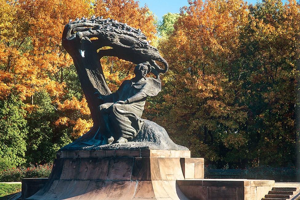 Chopin-statuen i Lazienki-parken